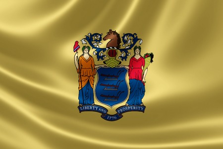 3D rendering of the flag of New Jersey on satin texture.