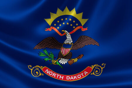 3D rendering of the flag of North Dakota on satin texture. Banque d'images