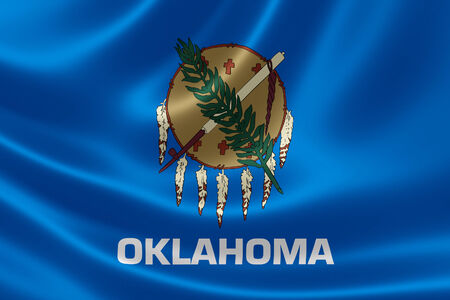 3D rendering of the flag of Oklahoma on satin texture. Stock Photo