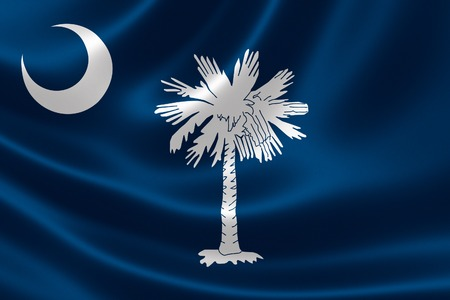 3D rendering of the flag of South Carolina on satin texture.