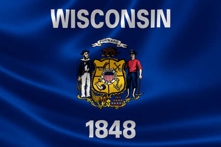 wisconsin flag: 3D rendering of the flag of Wisconsin on satin texture.