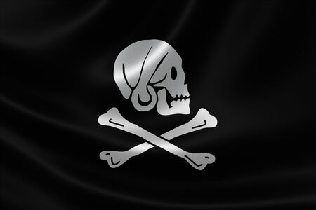 henry: 3D rendering of the Pirate Flag of Henry Every (Avery) on satin texture. The flag showed a skull wearing a kerchief in profile over crossbones.