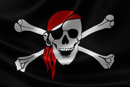 calavera pirata: Representación 3D de una bandera pirata en textura satinada.