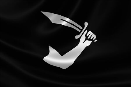 cutlass: 3D rendering of the Pirate Flag of Rhode Island Pirate Thomas Tew on satin texture. The flag showed an arm holding a cutlass. Stock Photo