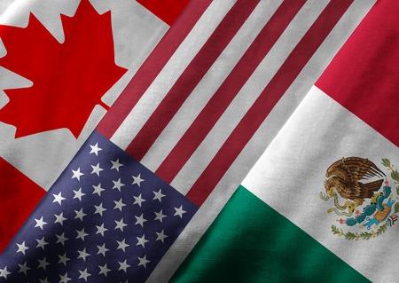 Close-up van de vlaggen van de Noord-Amerikaanse Vrijhandelsovereenkomst NAFTA-leden op textiel textuur. NAFTA is 's werelds grootste handelsblok en de lidstaten zijn Canada, de Verenigde Staten en Mexico.
