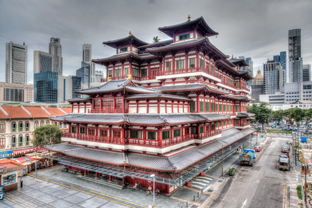 toothe: HDR rendering of the Buddha Toothe Relic Temple in Singapore
