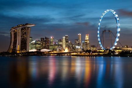 Long exposure shot of Singapore Skyline at Night
