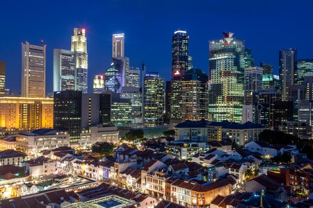 chinatown: An aerial view of Singapore Chinatown with financial district in background.