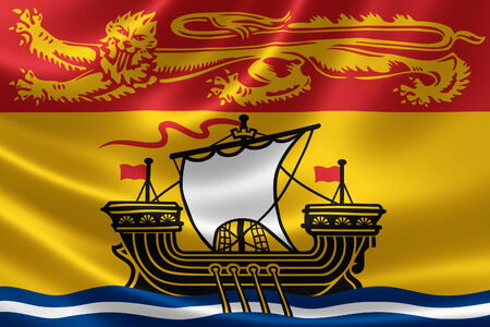 provincial: 3D rendering of the Canadian provincial flag of New Brunswick on satin texture. Stock Photo