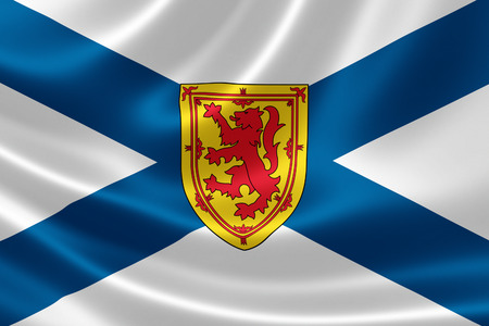 scotia: 3D rendering of the Canadian provincial flag of Nova Scotia on satin texture. Stock Photo