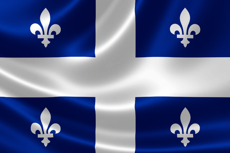 flag: 3D rendering of the Canadian provincial flag of Quebec on satin texture.