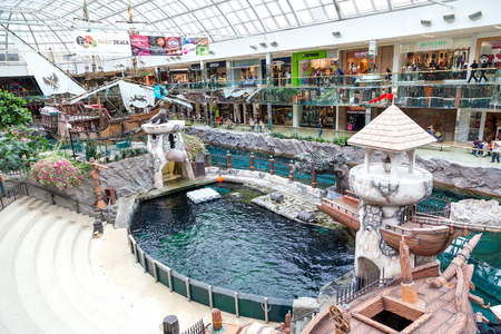 Shoppers visit the West Edmonton Mall. At 5,300,000 sq ft, it is the largest shopping mall in North America and 10th largest in the world. Editorial