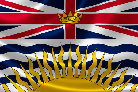 british columbia: 3D rendering of the Canadian provincial flag of British Columbia on satin texture.
