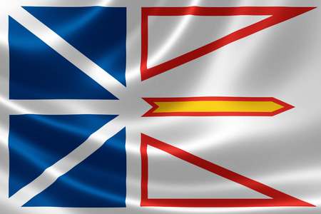 3D rendering of the Canadian provincial flag of Newfoundland & Labrador on satin texture.
