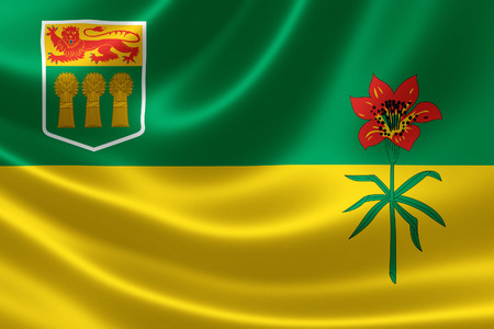 3D rendering of the Canadian provincial flag of Saskatchewan on satin texture.