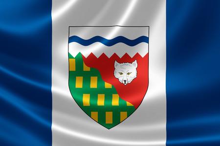 캐나다 영토의 3D 렌더링 새틴 질감에 노스 웨스트 준주의 국기.