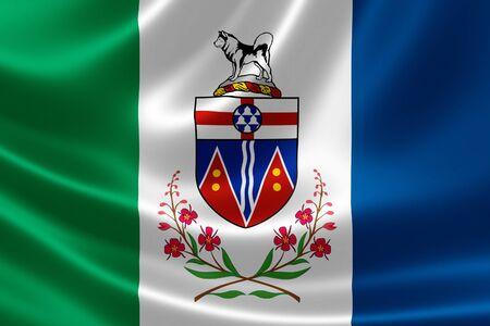 yukon: 3D rendering of the Canadian territory flag of Yukon on satin texture. Stock Photo