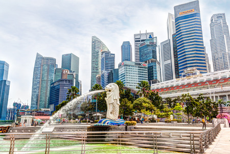 cbd: HDR rendering of Singapore Merlion Park in the Central Business District