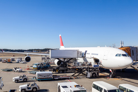 A commercial aircraft being serviced at the terminal of an international airport.
