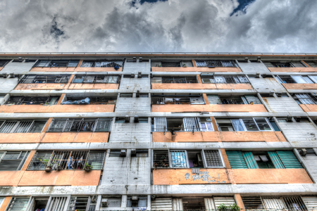 public housing: An old and worn-out public housing apartment in downtown Hong Kong. Stock Photo