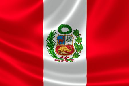 새틴 질감에 페루의 국기의 3D 렌더링.