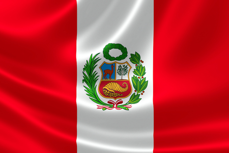 3D rendering of the flag of Peru on satin texture.