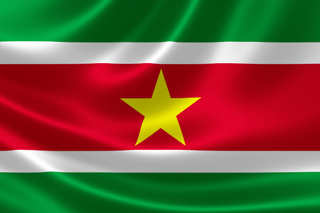 suriname: 3D rendering of the flag of Suriname on satin texture.