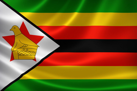 satin: 3D rendering of the flag of Zimbabwe on satin texture.
