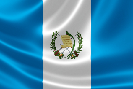 central america: 3D rendering of the flag of Guatemala on satin texture. Stock Photo