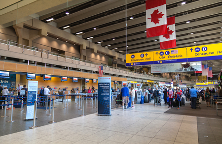Calgary International Airport terminal. Opened in 1938, the airport offers non-stop flights to major cities in North America, Europe and East Asia.