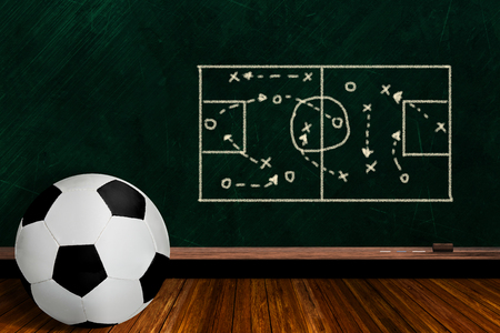 Soccer ball and play strategy drawn on a background chalk board with copy space.