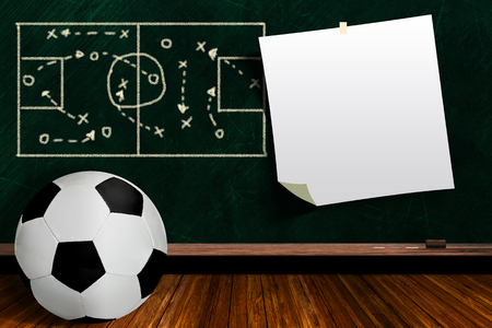 world receiver: Soccer ball and play strategy drawn on a background chalk board with copy space.