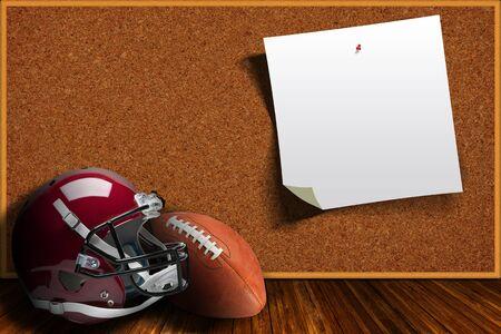 corcho: casco de fútbol y la pelota en un tablero de corcho de fondo con copia espacio.