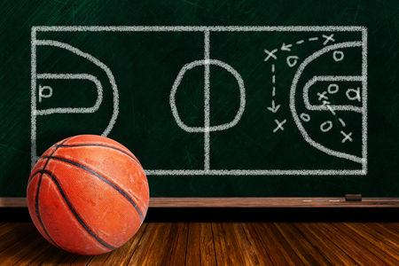 Basketball and play strategy drawn on a background chalk board with copy space.