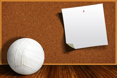 corkboard: Volleyball on a background cork board with copy space.