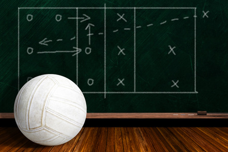 volleyball team: Volleyball and play strategy drawn on a background chalk board with copy space.
