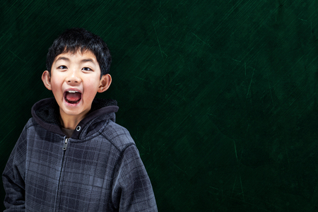wide open spaces: Smart Asian boy with in classroom setting with chalkboard background and copy space