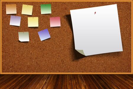 corkboard: Wooden table and background cork board with colorful pinned notes and copy space.