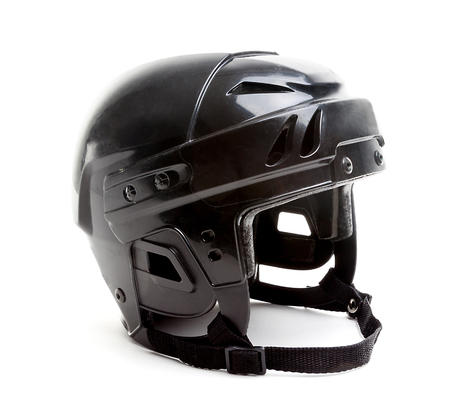 A black ice hockey helmet isolated on white background.