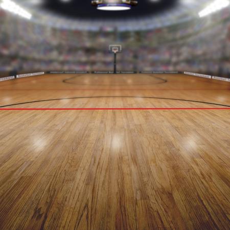 허구의 농구 경기장 배경 팬들 스탠드 복사 공간의 전체. 배경에 전경 및 필드의 얕은 깊이에 고의적으로 초점을 맞 춥니 다. 스톡 콘텐츠