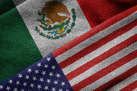 3D rendering of the flags of USA and Mexico on woven fabric texture. Detailed textile pattern and grunge theme.