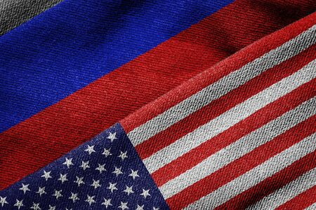 3D rendering of the flags of USA and Russia on woven fabric texture. Detailed textile pattern and grunge theme.