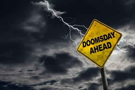 adds: Doomsday sign against a stormy background with lightning and copy space. Dirty and angled sign adds to the drama. Stock Photo