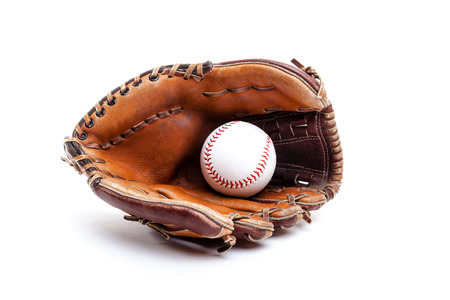 baseball glove: Seasoned leather baseball glove with ball, isolated on white background. Can also be used for softball or T-ball.