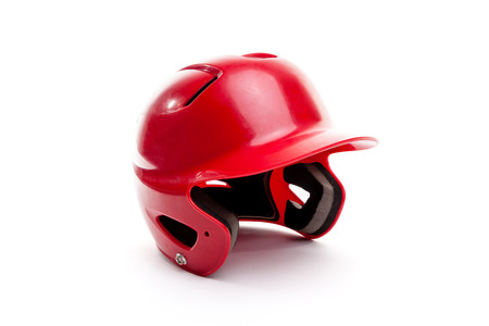 batters: A red batters helmet isolated on white background. This helmet can be used for various team sports like baseball, softball and T-Ball.