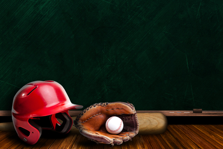 baseball diamond: Baseball Equipment and Chalk Board with Copy Space