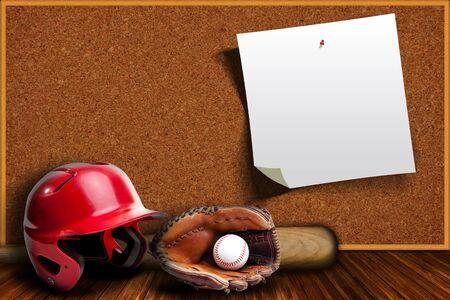 棒球装备包括手套,头盔,球棒和棒球与背景软木板与拷贝空间。