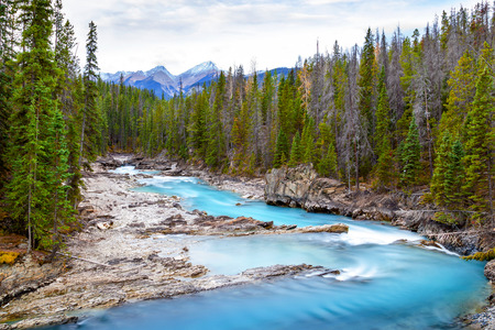 carves: Rushing waters from the Kicking Horse River carves through Natural Bridge at Yoho National Park in the Canadian Rockies.