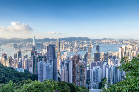 victoria harbor: Aerial shot of Victoria Harbor as viewed atop Victoria Peak. This is Hong Kongs famous financial downtown district.