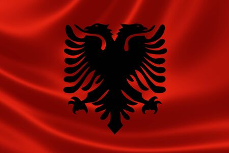 3D rendering of the flag of Albania on satin texture.
